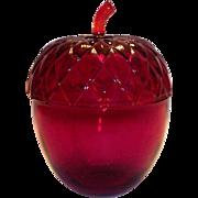 Ruby Red Glass Acorn Design Lidded Bowl