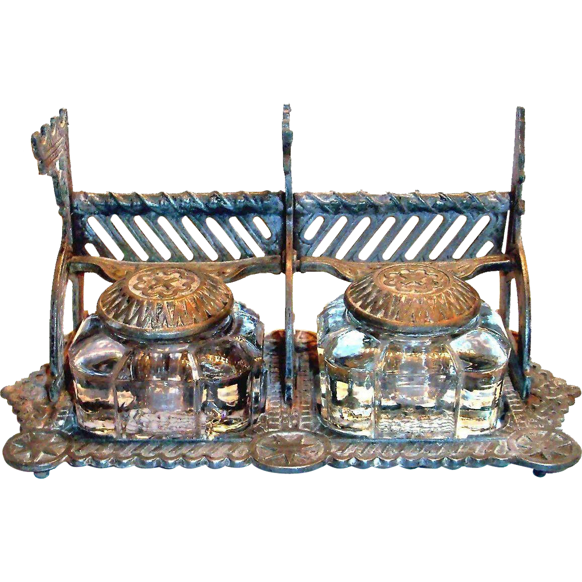 Double Cast Iron Ornate Inkwell With Two Glass Ink Bottles