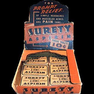 Surety Aspirin Cardboard Display With 6 Boxes Of Aspirin