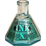 S. M. Bixby & Co. Transparent Green Conical Glass Umbrella Style Ink Bottle - 1890's