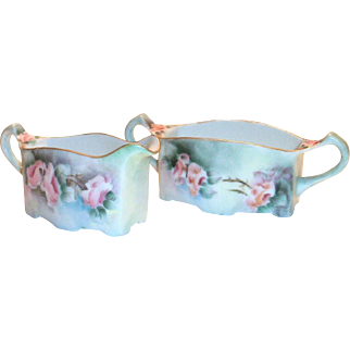 Vintage Hand Painted Floral design Porcelain Sugar & Creamer Set