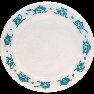 Hazel Atlas 1950's Turquoise on White Kitchen Aids Dinner Plate