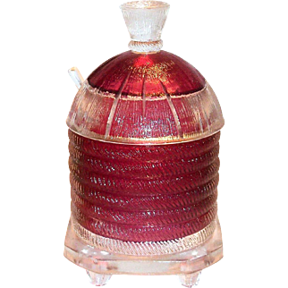 Cranberry & Clear Glass Beehive Jam Jar With Glass Spoon