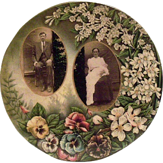 Vintage Round Tin Family Portraits With Pansies Design Flue Cover