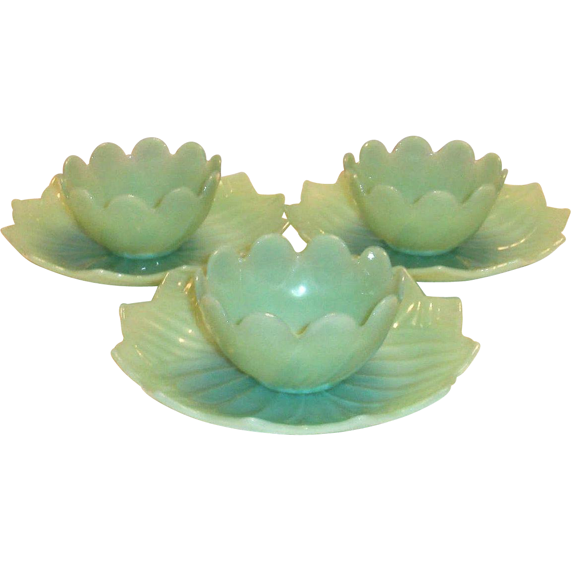 Fire King Jadite Leaf & Blossom Plate & Bowl Set