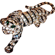 Clear Rhinestone & Black Enamel Striped Tiger Pin
