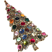 Lovely Multicolored Rhinestone Christmas Tree Pin