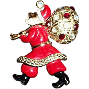 Hollycraft Red & White Enamel On Silver Tone Metal Santa Claus Pin - 1950's