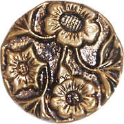 Vintage Gold Tone Raised Brass Type Floral Design Button