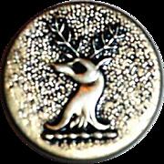 Vintage Silver Tone Raised Deer Head Design Metal Button