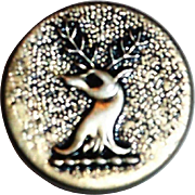 Vintage Silver Tone Raised Deer Head Design Metal Button