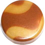 Vintage Butterscotch & Tan Wavy Striped Celluloid Button