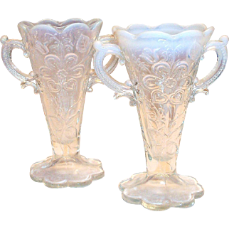 Mary Ann Dugan Carnival Opalescent Double Handle Glass Vase