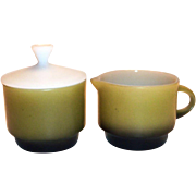 Anchor Hocking Dinnerware Stackable Green & Black Sugar & Creamer Set