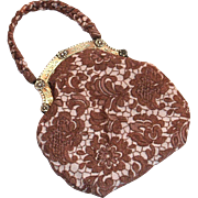 Vintage Two-Tone Tan Lace Look Vintage Cloth Purse
