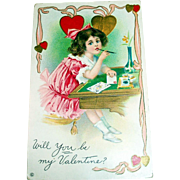 Will You Be My Valentine Postcard (Girl Writing A Valentine Postcard at Desk)