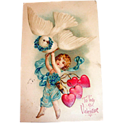To My Valentine Postcard (Cupid & Dove)