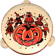 U.S. Toy Mfg. Co. Metal Halloween Tambourine Noise Maker - 1950's