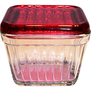 Vintage Red Lid On Clear Glass Ribbed Design Refrigerator Dish