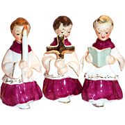 Napco Handpainted 3 Pc Porcelain Christmas Church Altar Boys Figurines