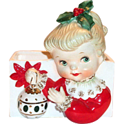 Napco Christmas Girl Porcelain Head Vase/Planter
