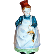 Hand Painted Porcelain Lady Chef Figurine Bell - Japan