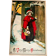Stecher: A Very Merry Christmas Postcard (Girl In Red Cape)