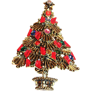 Pakula Rhinestones & Red Bow Christmas Tree Pin