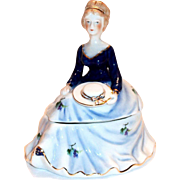 Limoges China Hand Painted Lady Figurine Trinket Box or Powder Dish