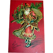 Nash: A Merry Christmas Postcard (Santa Carrying Tree & Bag of Goodies)
