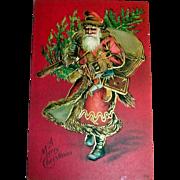 Nash: A Merry Christmas Postcard (Santa Carrying Tree & Bag of Goodies)