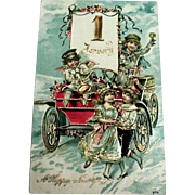 A Happy New Year Postcard (Little Angel Making Merry Sitting On Old Car with Friends)