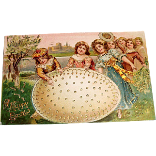 A Happy Easter Postcard (Girls Around Large Egg)