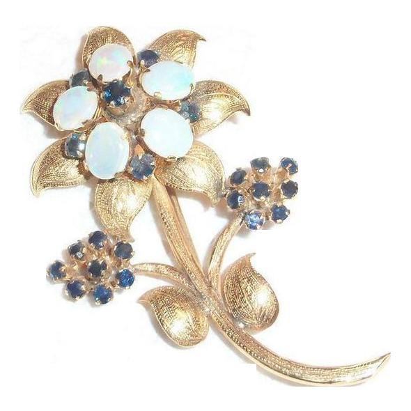 Vintage Blue Opals & Sapphires Floral Design Pin