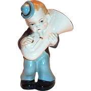 Vintage Hand Painted Porcelain Tuba Player Figurine