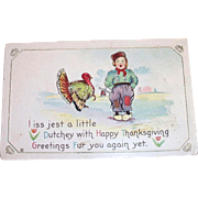 Vintage Dutch Boy & Turkey Thanksgiving Postcard - 1915