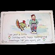 Vintage Dutch Boy & Turkey Thanksgiving Postcard - 1915