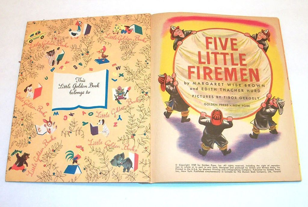 FIVE LITTLE FIREMEN ~ vintage Little Golden Book #64 ~ Margaret Wise Brown 1940s