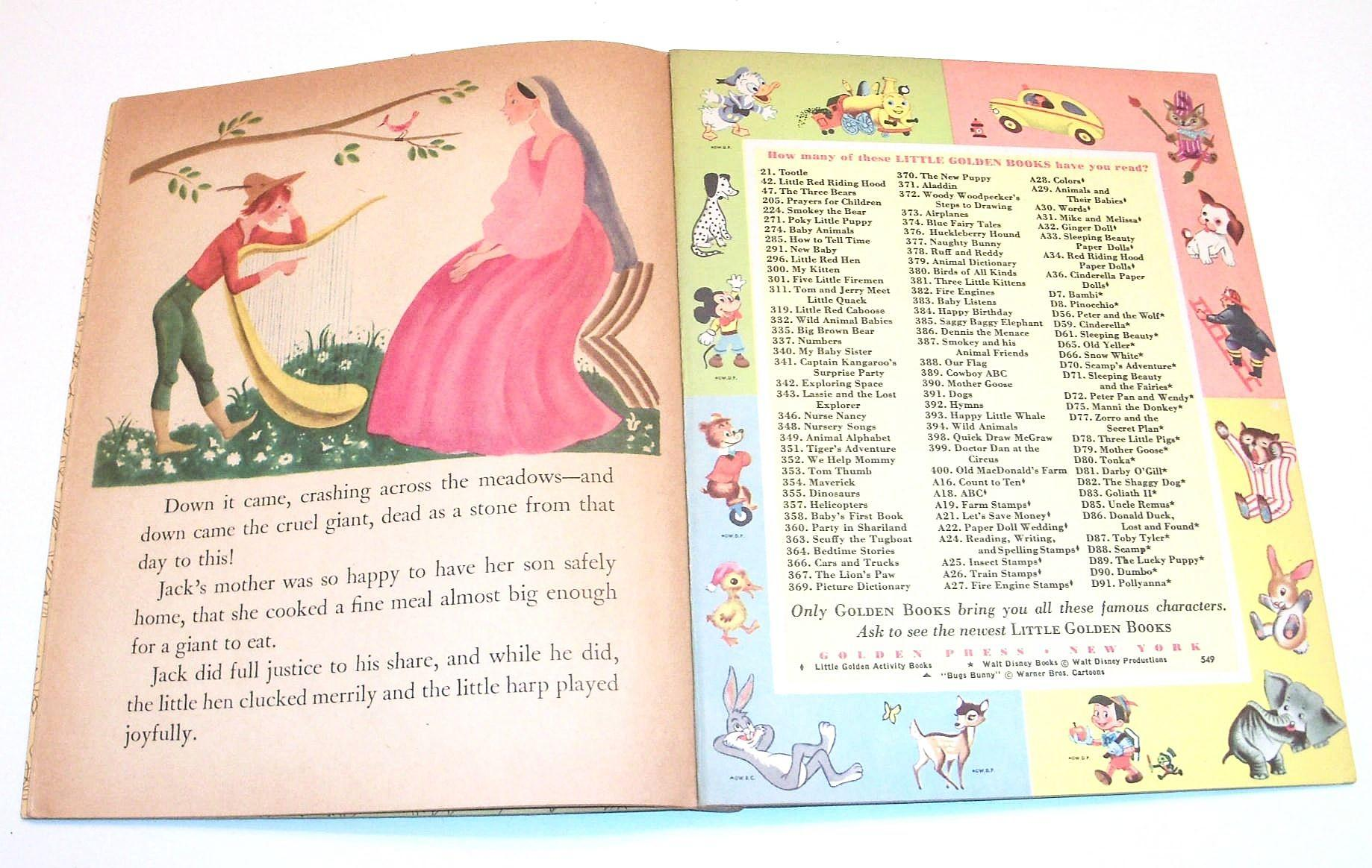 Tenggren's JACK and the BEANSTALK Little Golden Book #179 (1953) A Edition VG
