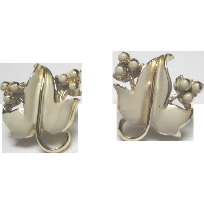 Coro Cream Colored on Gold Tone Leaf Earrings