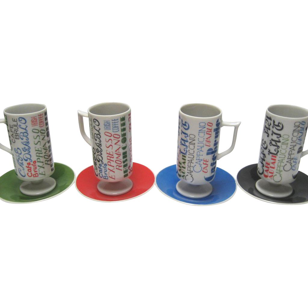 Set of 4 Royal Crown Cups and Saucers - Primary Colors