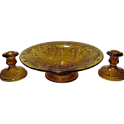 Tiara Crystal Amber Sandwich Flared Bowl and Candle Holders