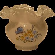 "Fenton Butterflies On Silver Crest 4"" Vase"