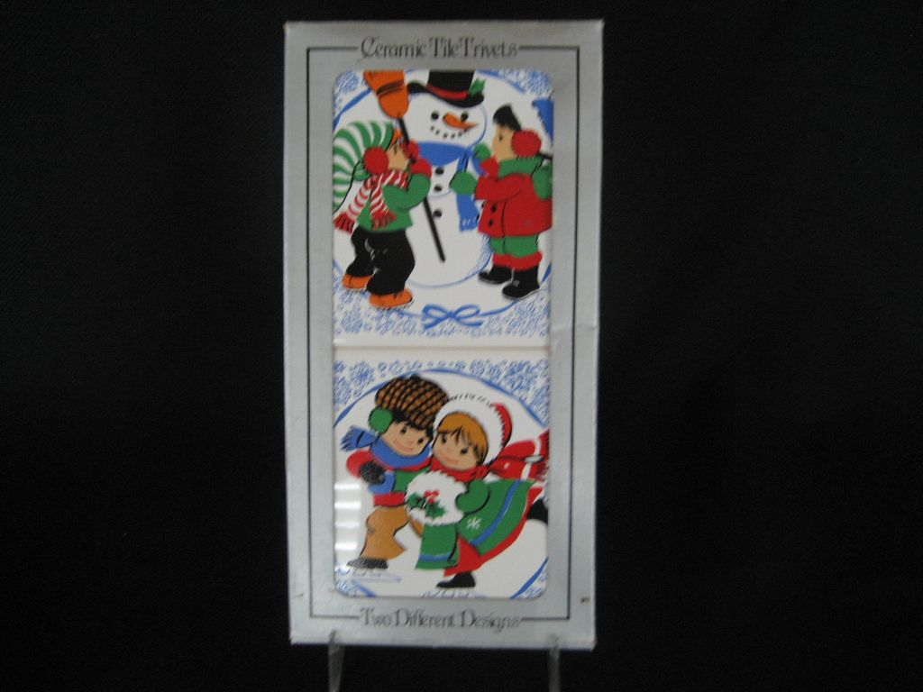 Set of 2 Ceramic Tile Christmas Trivets - Jasco