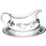 Royal Doulton Burgundy Gravy Boat With Attached Underplate