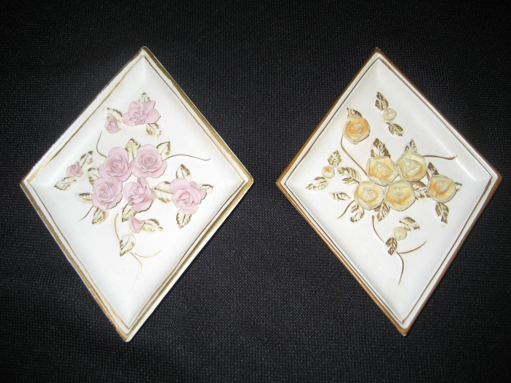 Pair of Lefton Floral Wall Plaques - Pink and Yellow