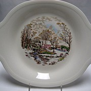 2 Edwin M. Knowles Platters - Winter Scenes