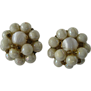 Creamy White Beaded Cluster Clip Earrings
