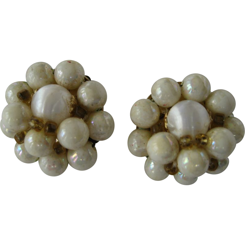 Creamy White Beaded Cluster Clip Earrings