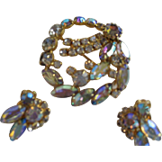 Aurora Borealis Brooch/Pin and Clip Earrings